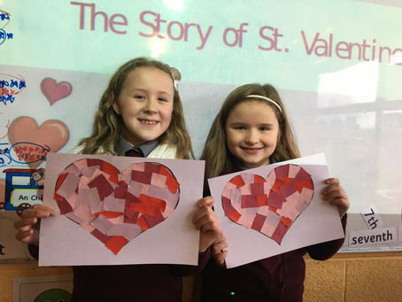 Ms Leonard's class have been learning aboutSt. Valentine and Valentine's Day traditions. We made lo