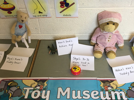 Ms Leonard's Class have been learning about old toys and games. We have made a toy museum outside ou