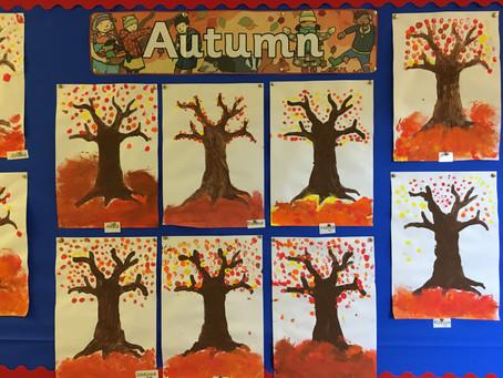 Ms Leonard 's Class Autumn Tree Paintings
