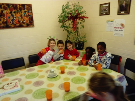 Hot chocolate and pyjamas day in Ms. Kearns' class. We enjoyed our hot chocolate in the staff ro