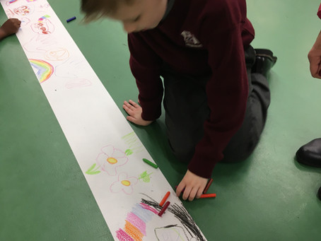 Epic Drawing Session in the PE hall for Arts Week