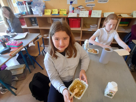Hot lunches went down a treat in Ms. Kearns's class.