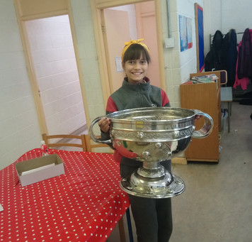 There was great excitement when the Sam Maguire trophy arrived into 5th class today.