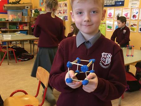 Ms Leonard's FirstClass have been busy making 3D shapes using matchsticks, lollipop sticks and plas