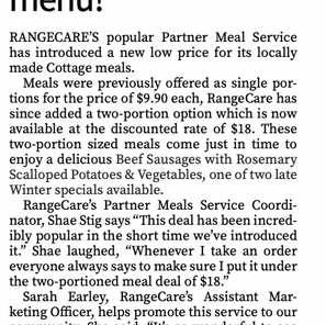 Meals for two on the RangeCare Cottage Winter menu!