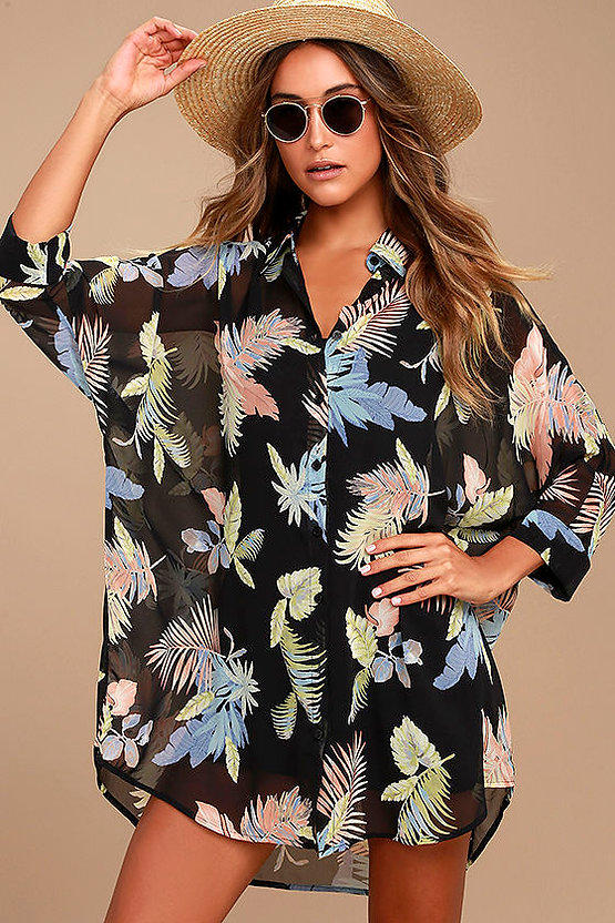 6c12441945663 Lulu's Coastal Grooves Striped Swim Cover-up- $55 · Lulu's Midas Sheer Gold  Maxi ...