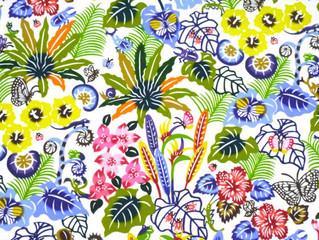 紅型デザイン『バンナ公園の植物と昆虫たち』シリーズの緑をご紹介します。