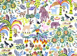 紅型デザイン『沖縄の果実と動物たち』柄が仲間入りしました。