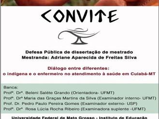 Convite de Defesa Pública de dissertação de mestrado de Adriane Ap. de F. Silva