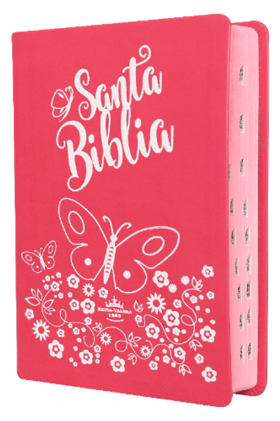 Biblia Reina Valera 1960 Tapa color rosa, canto perlado rosa,