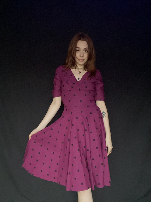 1950s Style Purple Polka Dot Dress