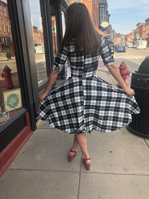 1950's Style Black & White Plaid Dress