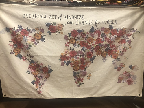One Act Of Kindness World Map Canvas Wall Hanging
