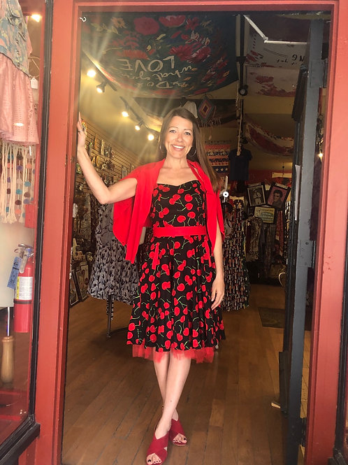 Retro Cherry Red Swing Dress