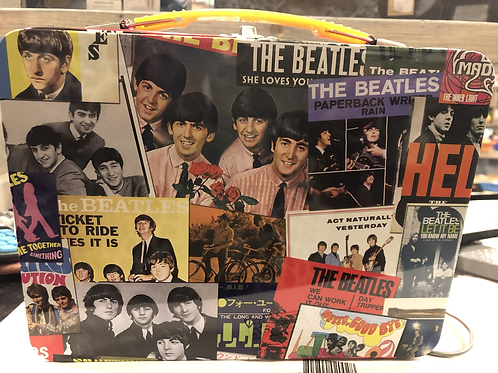 Retro Beatle collage Tin Tote