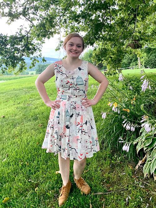 Lovely Springtime Bird Cage Pattern Dress!