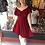 Thumbnail: Velvet Burgundy Fit & Flare Dress