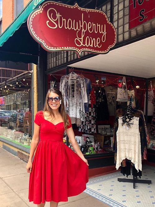 1950's  Inspired Red Sweetheart Swing Dress