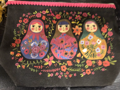 Colorful Russian Doll -Zipper Pouch Bag