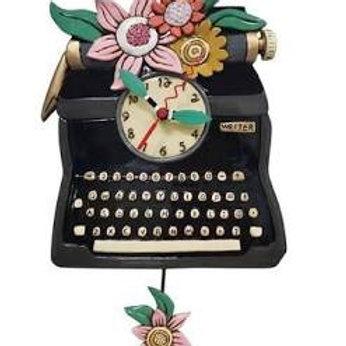 Black Vintage Typewriter Clock