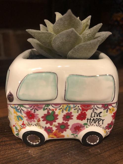 Groovy Retro Van Faux Succulent Planter