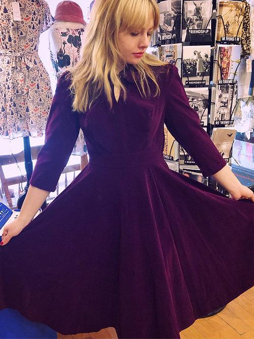 Classic Vintage Style Burgundy Velvet Dress