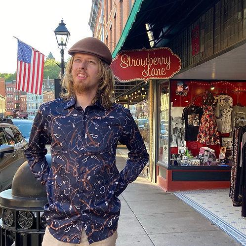 Men's Cowboy Rope Print Shirt