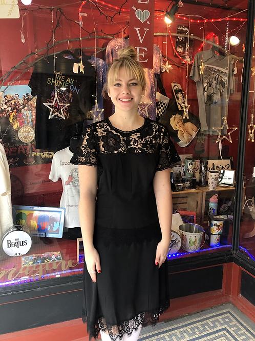 1920s Black Lace Marmande Flapper Dress