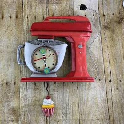 Vintage Mixer Clock with Swinging Pendulum Cupcake