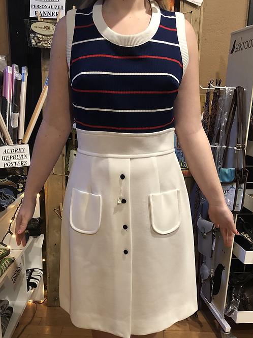 1960s  Red, White,  & Blue, White Skirt Summer Dress