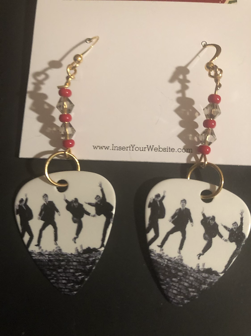 The Beatles Hard Days Night Guitar Pick Earrings