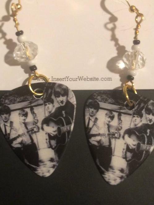 The Beatles Black & White Photo- Guitar Pick Earrings
