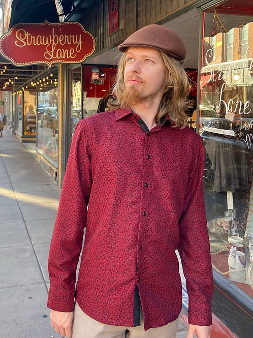 Mens Red/Maroon Small Flower Shirt