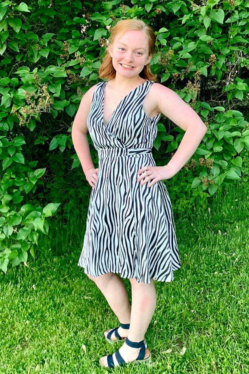 Black & White Zebra 🦓 Print Wrap Dress