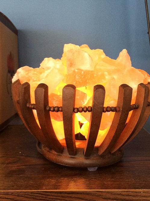 Himalayan Salt Lamp Wooden Basket