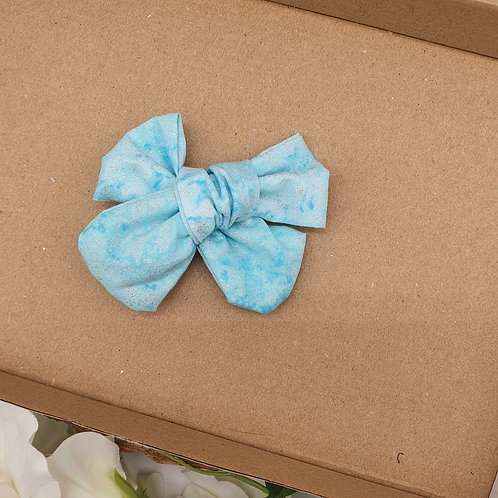 Glitter Blue Cotton Handtied Classic Bow