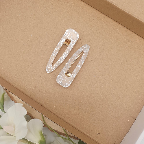 Large  Teardrop Mother Of Pearl Gold Prong Clips