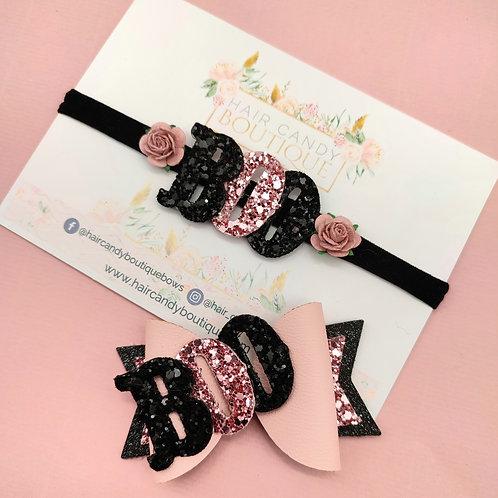 Pink & Black BOO Headband Or Bow