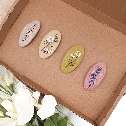 Embroidered Linen Flower Snap Clips