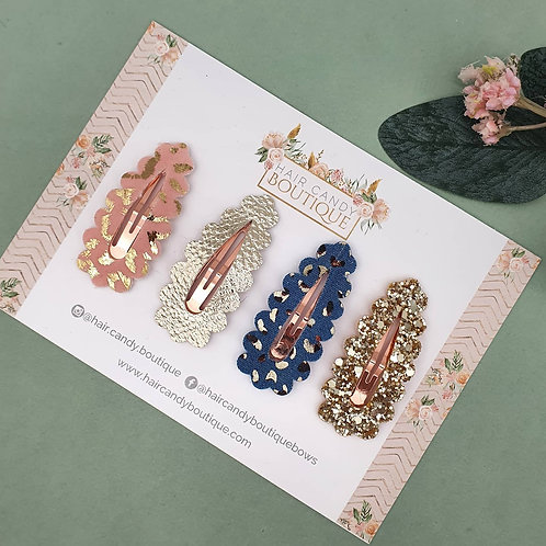 Leopards & Gold Scallop Snap Clips