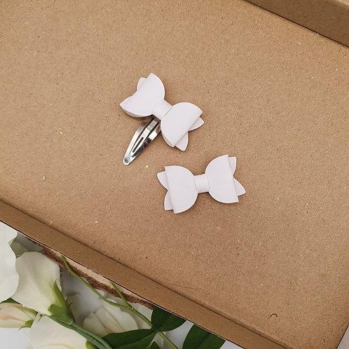 White Vegan Leather Ultra Mini Bow Set
