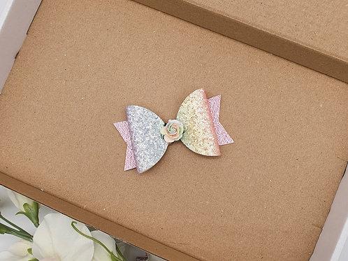 Rainbow Flower Dolly Bow