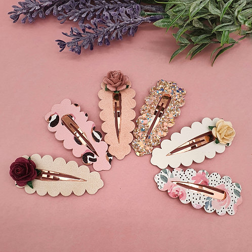 Lux Floral Princess Snap Clips