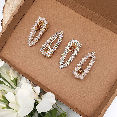 Diamonds & Pearls Golden Prong Clips