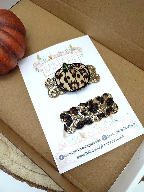 Leopard Pumpkins Scallop Snap Set