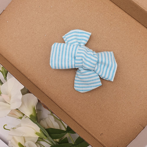 Blue Stripe Chambray Handtied Classic Bow