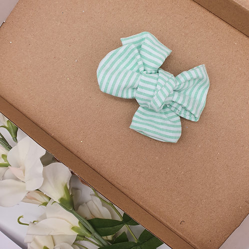 Green Stripe Chambray Handtied Classic Bow