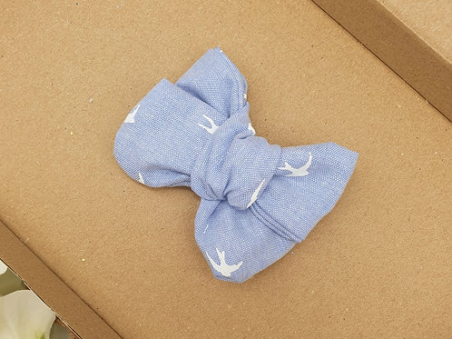 Blue Chambray Swallows Handtied Classic Bow