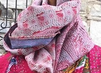 Silk Kantha Scarf Pink