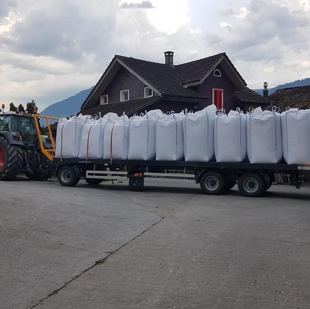 Fendt 930 mit Wielton beim Maiswürfeltransport